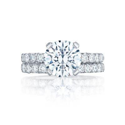 Tacori HT254525RD9 Platinum Round Simple Classic Engagement Ring set