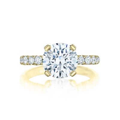 Tacori HT254525RD9-Y Petite Crescent Yellow Gold Round Engagement Ring