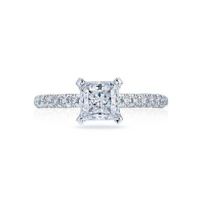 Tacori HT2545PR Petite Crescent White Gold Princess Cut Engagement Ring