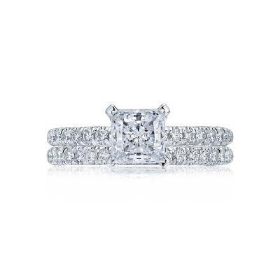 Tacori HT2545PR White Gold Princess Cut Classic Pave Engagement Ring set