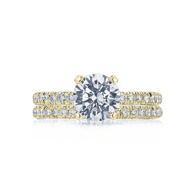 Tacori HT2545RD75Y Yellow Gold Round Classic Pave Engagement Ring set
