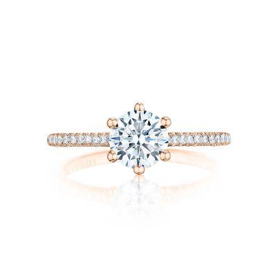 Tacori HT254615RD65-PK Petite Crescent Rose Gold Round Engagement Ring