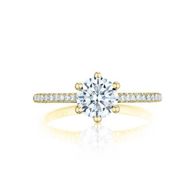 Tacori HT254615RD65-Y Petite Crescent Yellow Gold Round Engagement Ring