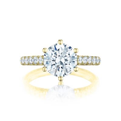 Tacori HT254625RD9-Y Petite Crescent Yellow Gold Round Engagement Ring