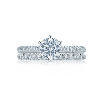 Tacori HT2546RD White Gold Round Pave Engagement Ring set