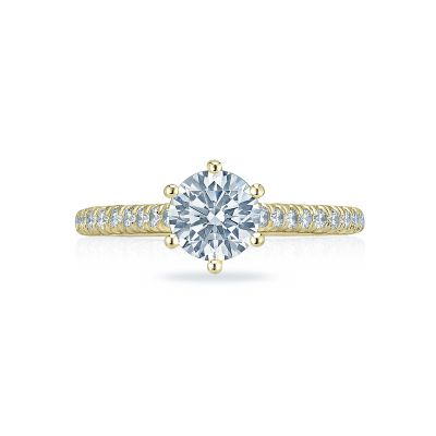 Tacori HT2546RD65-Y Petite Crescent Yellow Gold Round Engagement Ring