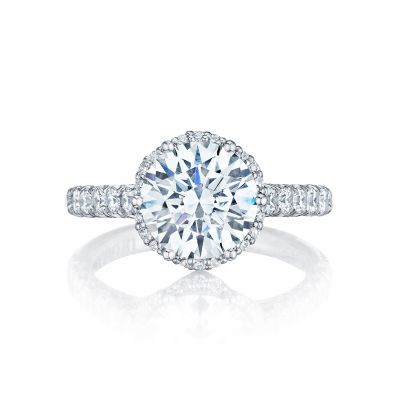 Tacori HT254725RD Petite Crescent White Gold Round Engagement Ring