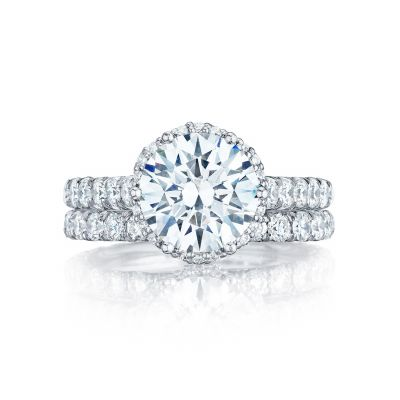 Tacori HT254725RD White Gold Round Classic Halo Engagement Ring set