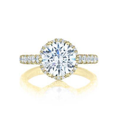 Tacori HT254725RD9-Y Petite Crescent Yellow Gold Round Engagement Ring