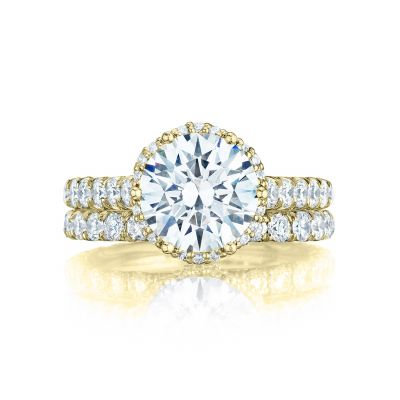 Tacori HT254725RD9-Y Yellow Gold Round Unique Halo Engagement Ring set