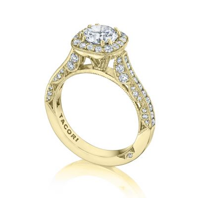 Tacori HT2550CU65-Y Yellow Gold Round Classic Halo Engagement Ring angle