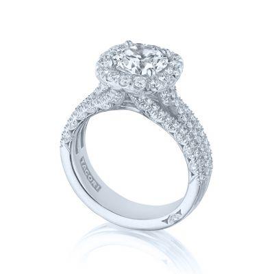 Tacori HT2551CU75 Platinum Round Split Band Engagement Ring set