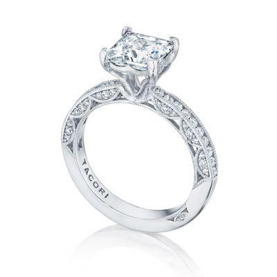 Tacori HT2553PR White Gold Princess Cut Classic Engagement Ring angle