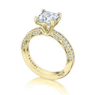 Tacori HT2553PR7-Y yellow Gold Princess Cut Classic Engagement Ring angle