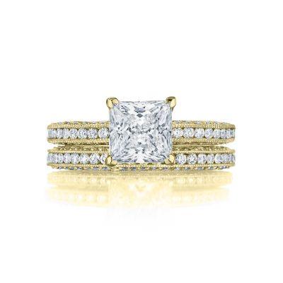 Tacori HT2553PR7-Y yellow Gold Princess Cut Classic Engagement Ring set