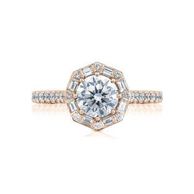 Tacori HT2556RD65-PK Petite Crescent Rose Gold Round Engagement Ring