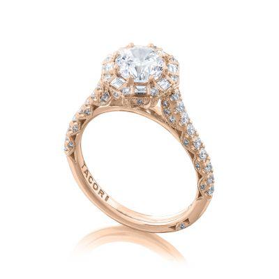 Tacori HT2556RD65-PK Rose Gold Round Halo Engagement Ring angle