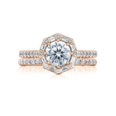 Tacori HT2556RD65-PK Rose Gold Round Halo Engagement Ring set