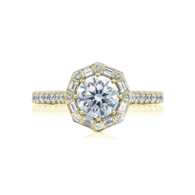 Tacori HT2556RD65-Y Petite Crescent Yellow Gold Round Engagement Ring