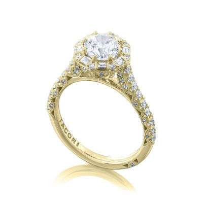 Tacori HT2556RD65-Y Yellow Gold Round Vintage Halo Engagement Ring angle