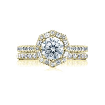 Tacori HT2556RD65-Y Yellow Gold Round Vintage Halo Engagement Ring set