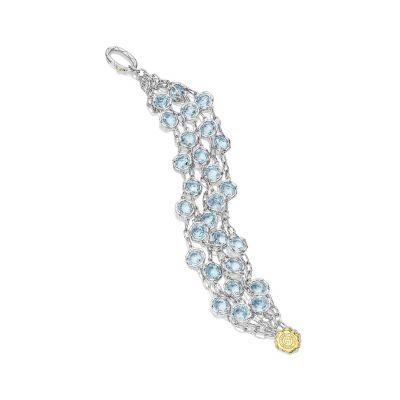 SB100Y02 Island Rains Silver Sky Blue Topaz Statement Bracelet for Women