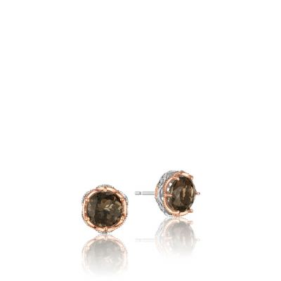 SE105P17 Color Medley Silver and Rose Gold Smokey Quartz Stud Earrings for Women