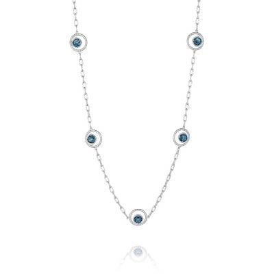 SN14833 Island Rains Silver London Blue Topaz Long Necklace for Women